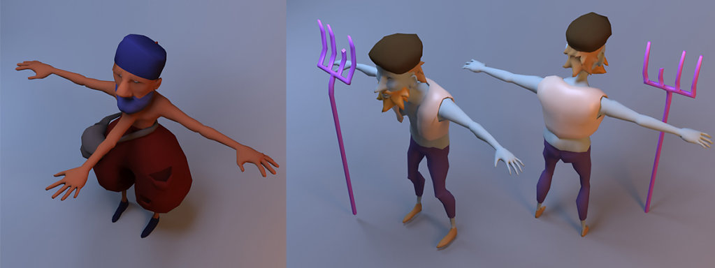 Characters modeling (color placeholder as texture)