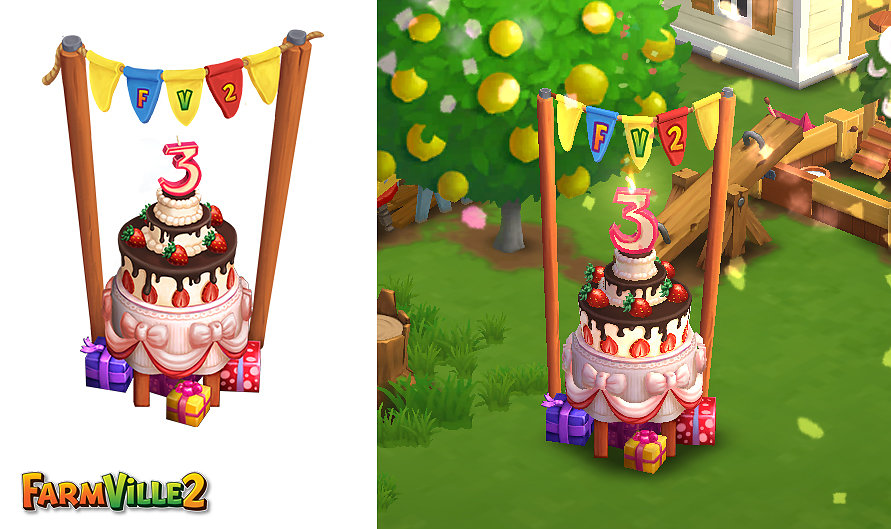 Concept and modeling of a birthday cake for FarmVille2